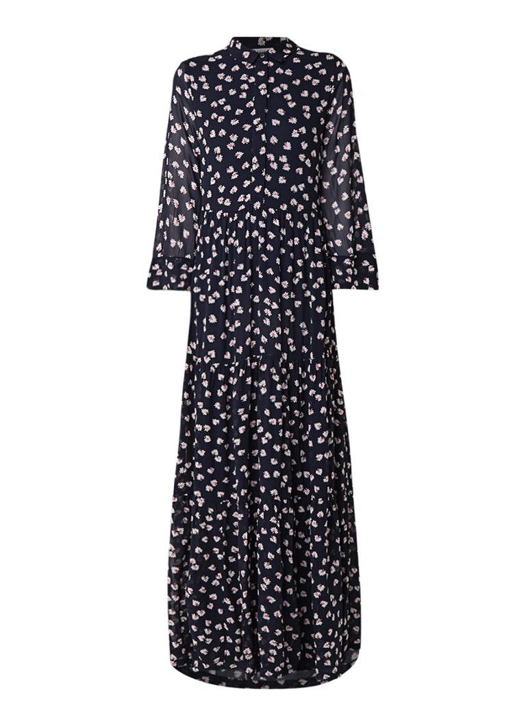 Ganni Rometty Georgette maxi-jurk met bloemendessin donkerblauw
