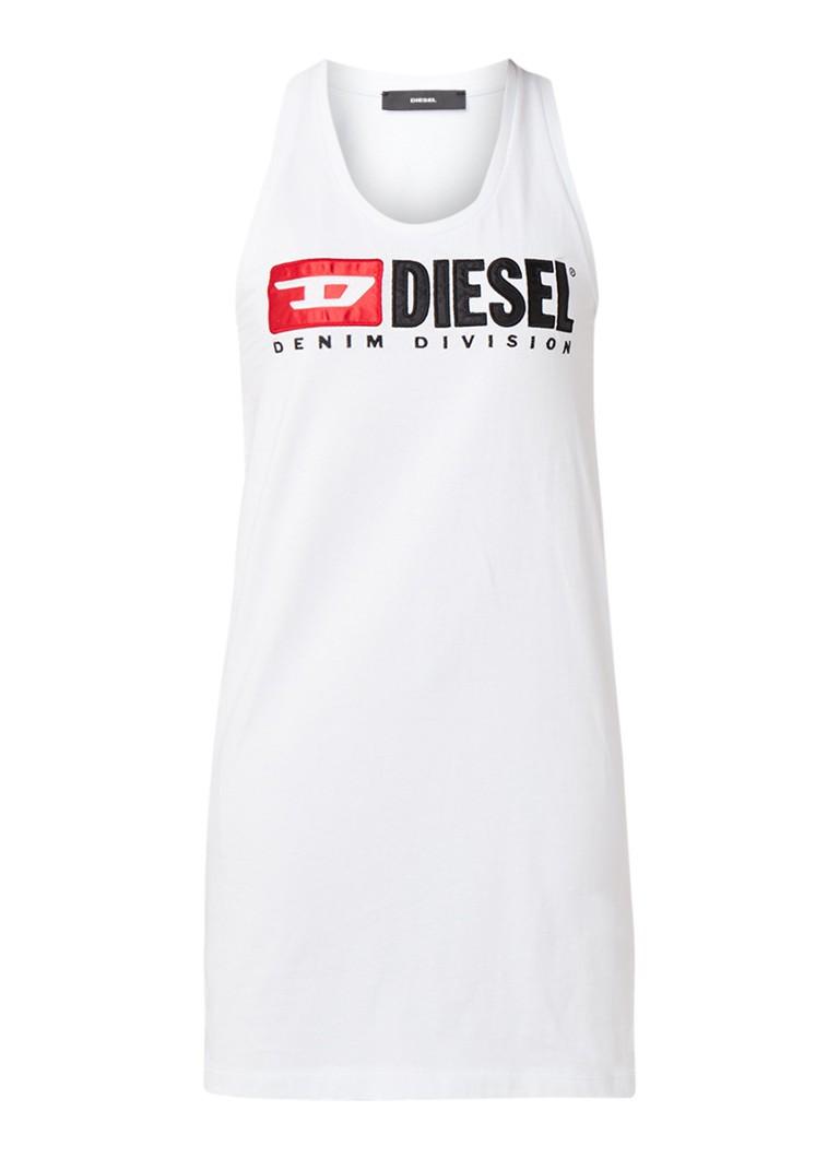Diesel T-Silk mouwloze jurk van jersey met merkapplicatie wit