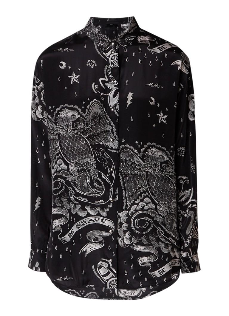 Diesel Solen oversized blouse met tattoo print