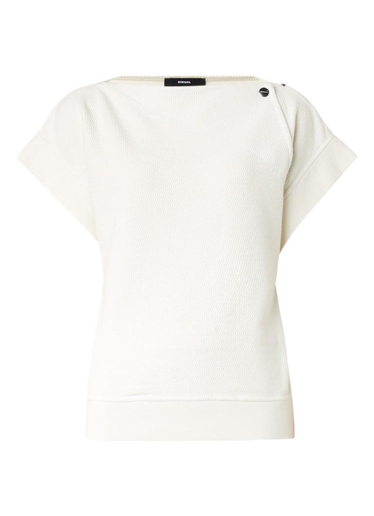 Diesel F-Clare sweater met denim inzet en korte mouw