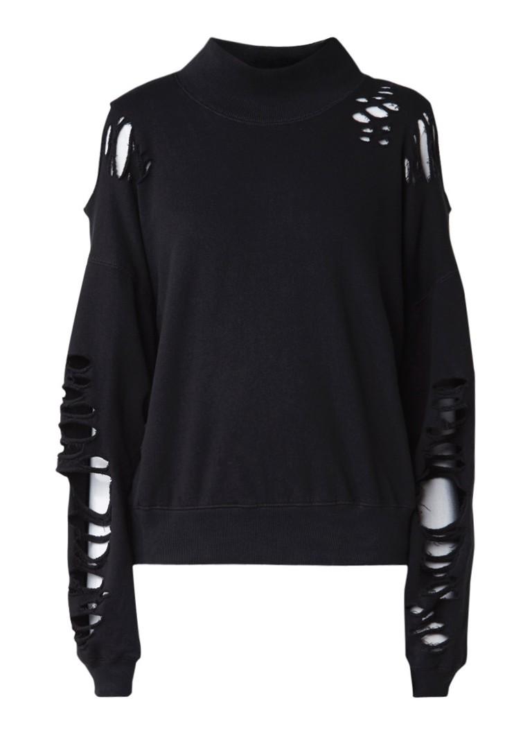 Diesel F-Leat cold shoulder sweatshirt met destroyed details