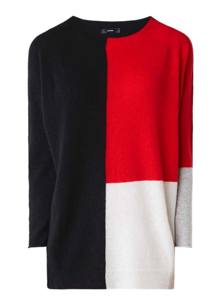 Diesel M-Soft pullover in kasjmierblend met colour block