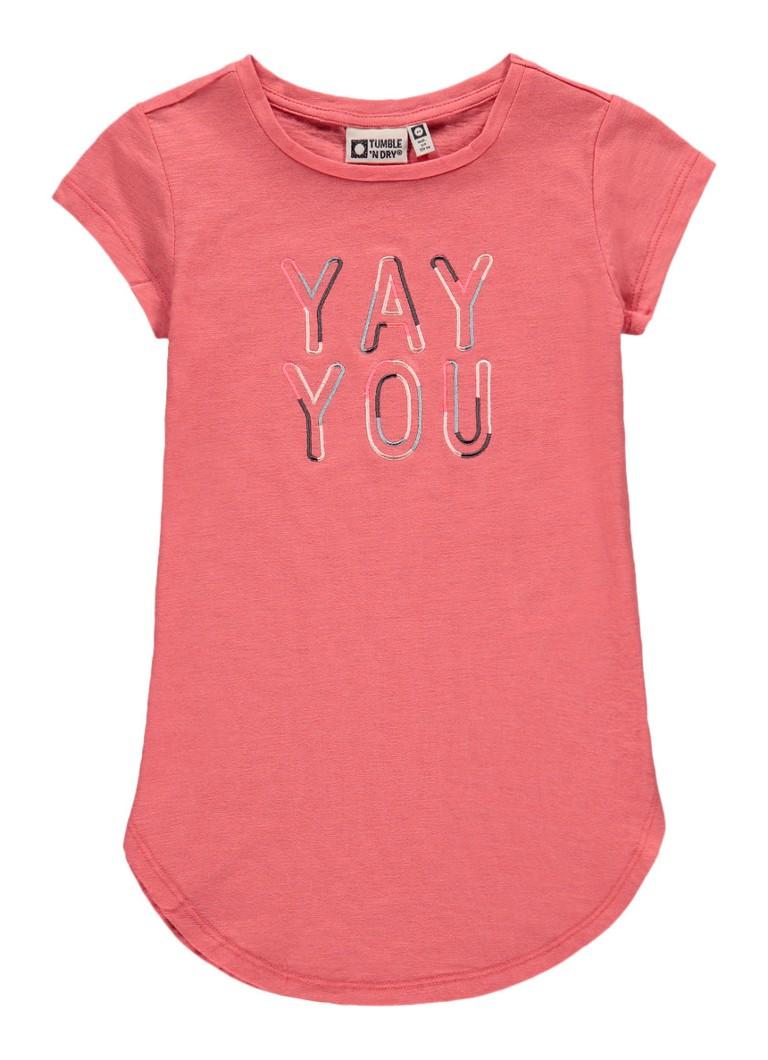 Tumble 'n Dry Dokotya T-shirt met tekstborduring