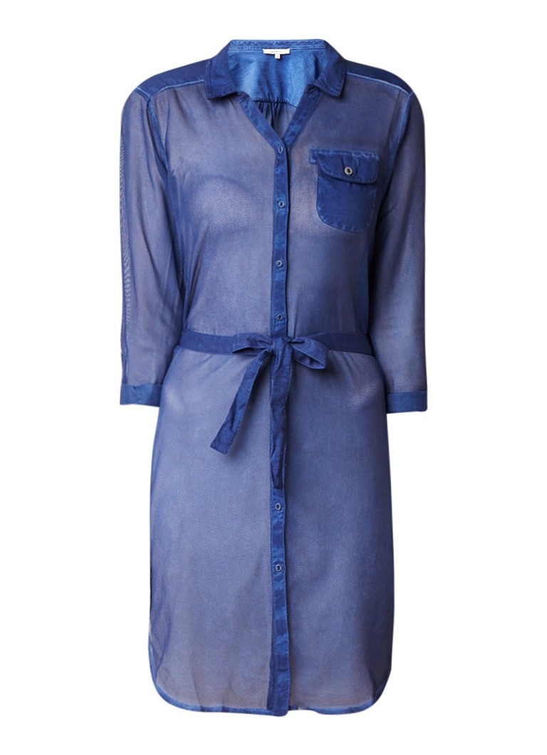 Sandwich Semi-transparante blousejurk met strikceintuur donkerblauw