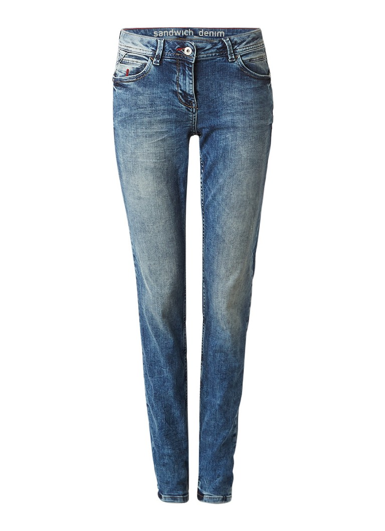 Sandwich Mid rise skinny fit jeans met medium wassing