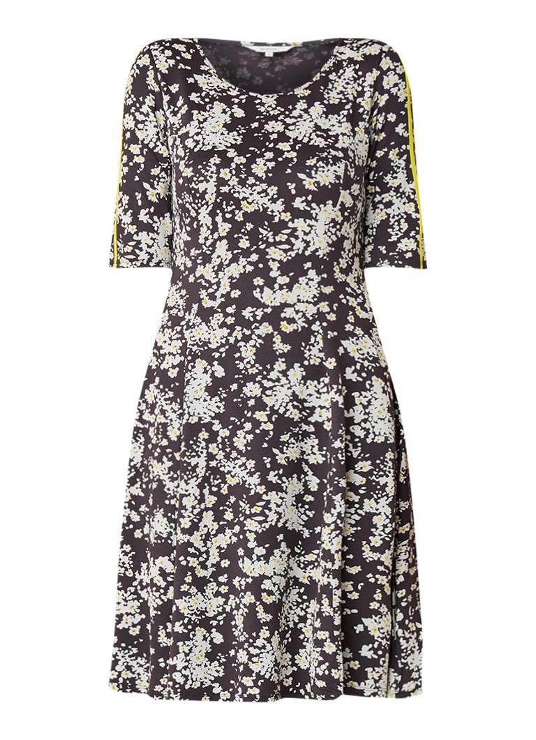 Sandwich Jersey midi-jurk met bloemendessin grijs