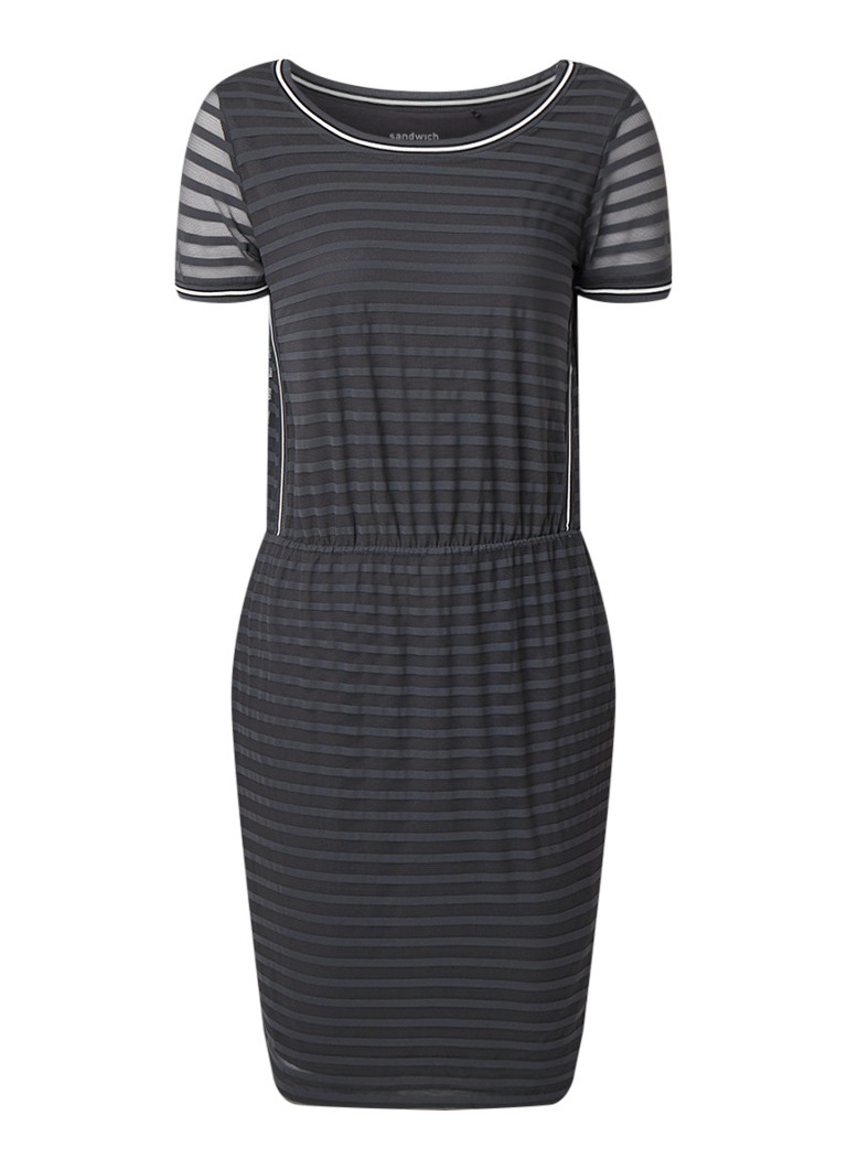 Sandwich Losvallende jurk met streepdessin donkergrijs