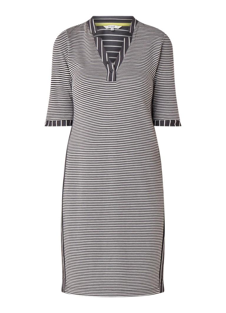 Sandwich Jersey midi-jurk met streepdessin grijs