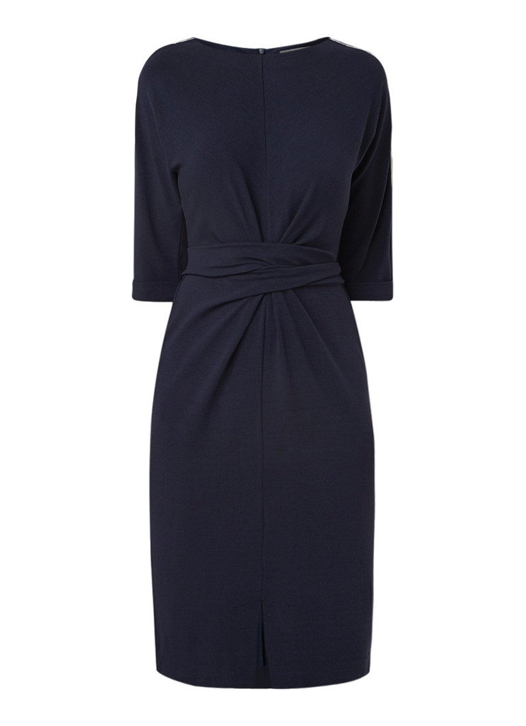 Sandwich Midi-jurk van jersey met strikceintuur donkerblauw