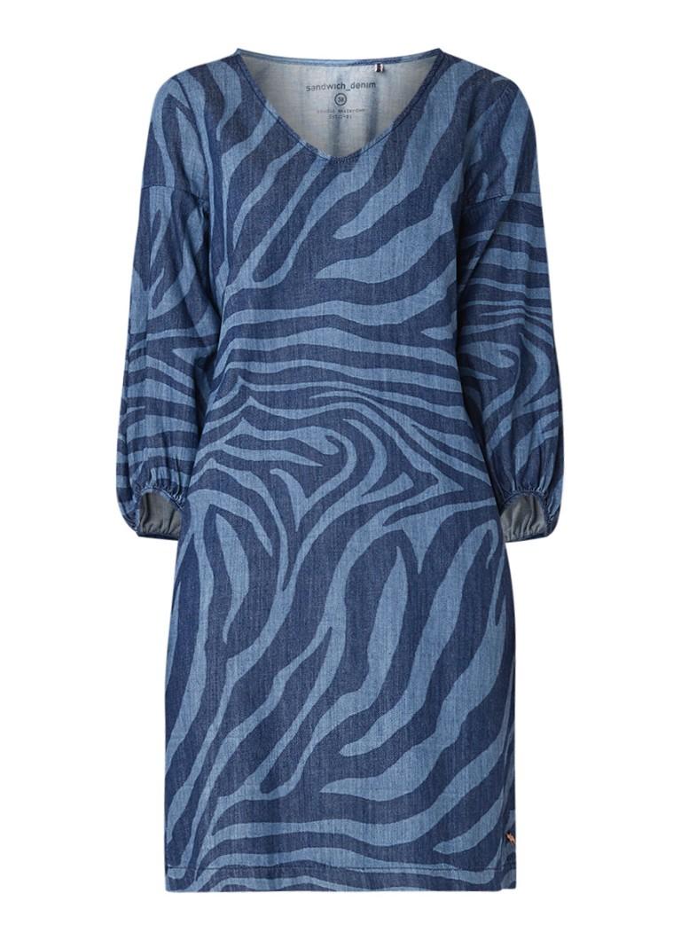 Sandwich Loose fit jurk van denim met dessin indigo