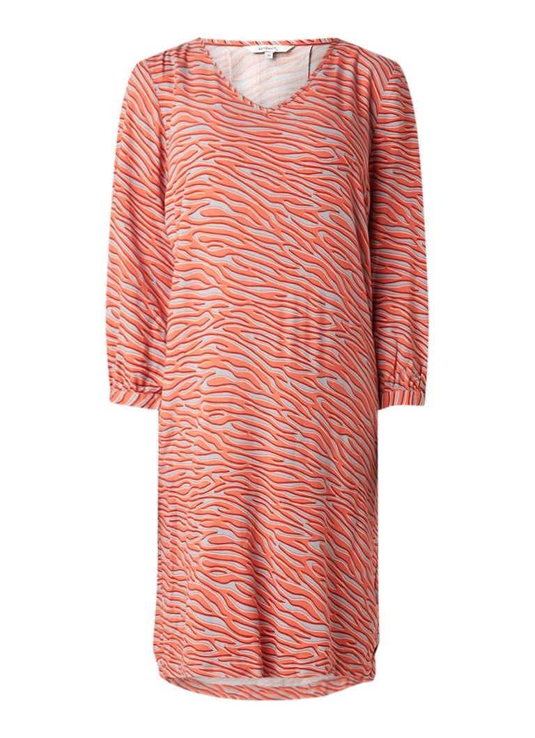 Sandwich Loose fit midi-jurk met dessin en strikmanchet oranje