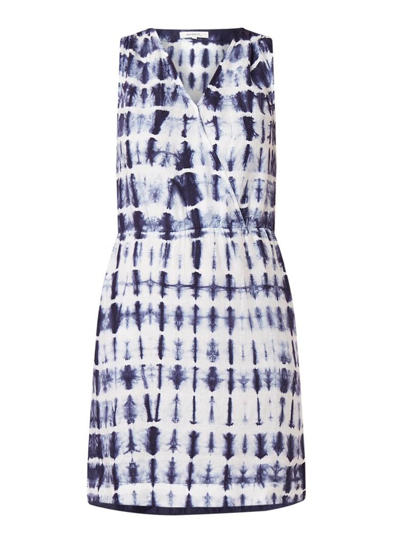 Sandwich Midi-jurk van linnen met tie-dye dessin donkerblauw