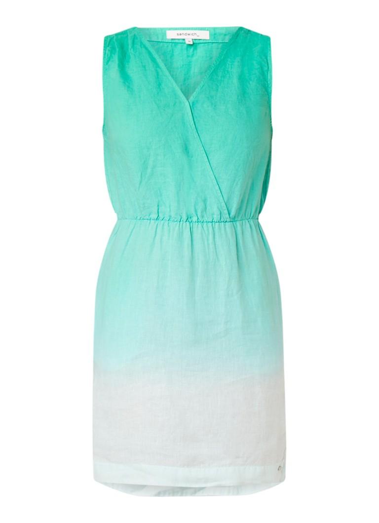 Sandwich Midi-jurk van linnen met ombre kleurverloop groen