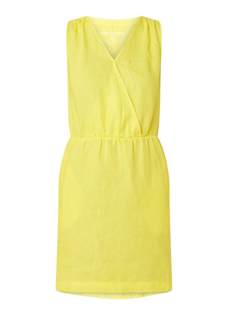Sandwich Mouwloze midi-jurk van linnen met steekzakken citroengeel