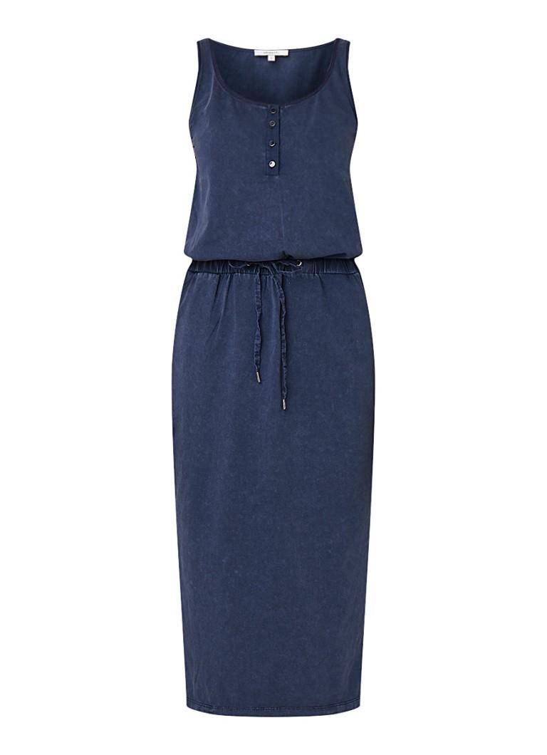 Sandwich Mouwloze midi-jurk met tunnelkoord middenblauw