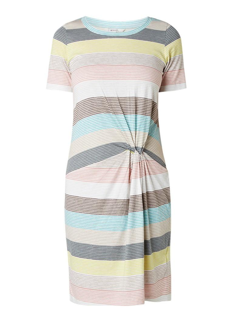 Sandwich Gestreepte T-shirt jurk met gedraaid detail multicolor