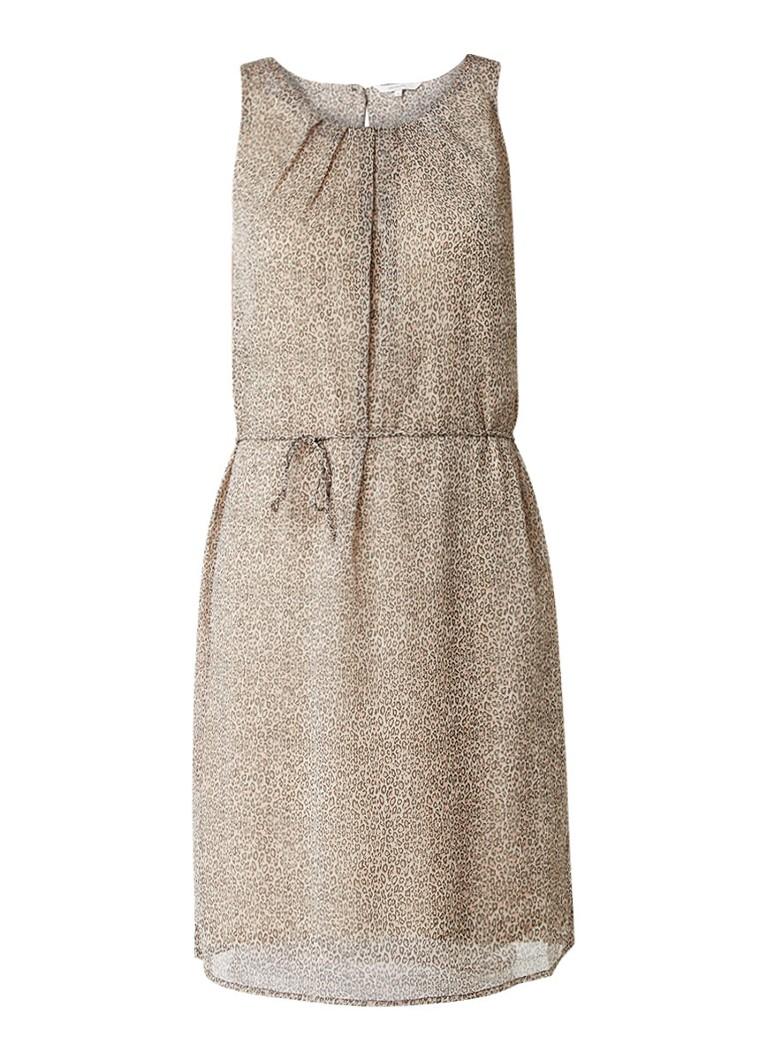 Sandwich Mouwloze jurk met ceintuur en luipaardessin beige
