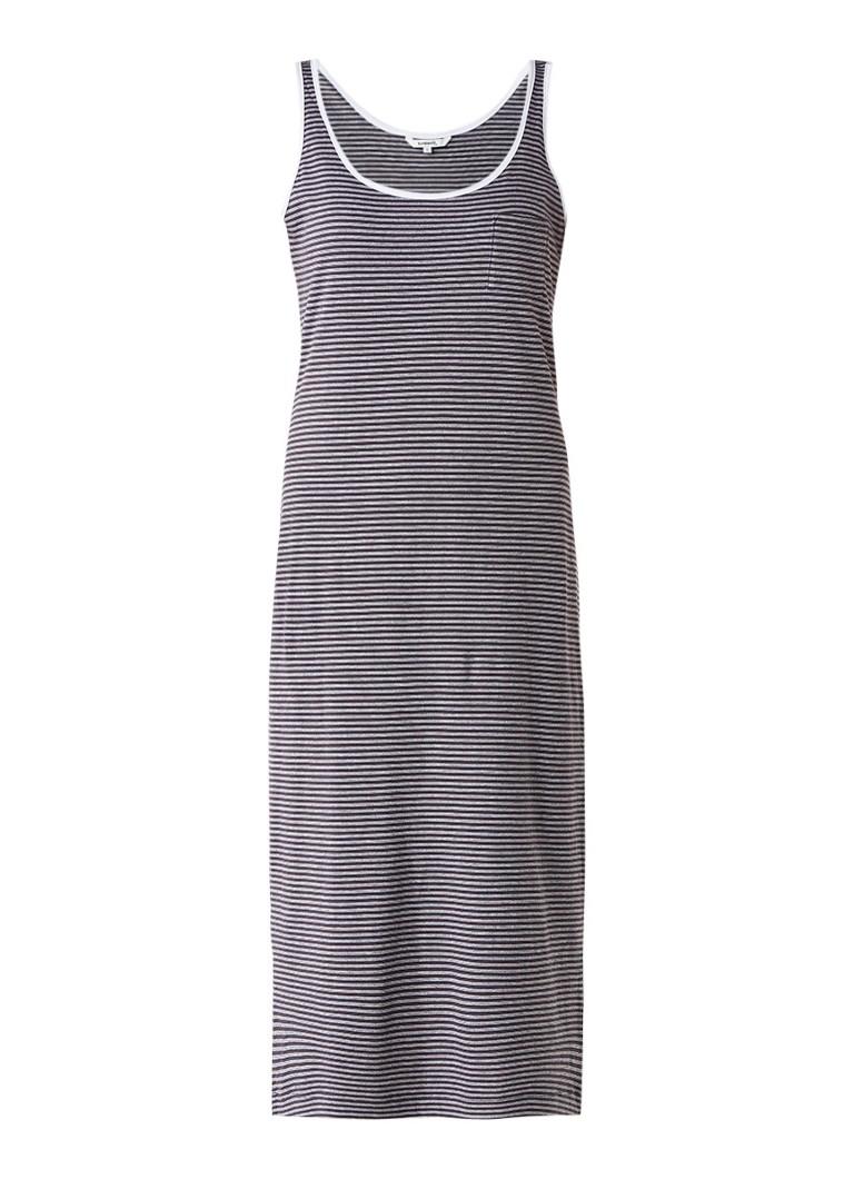 Sandwich Midi-jurk van katoenjersey met streepdessin antraciet