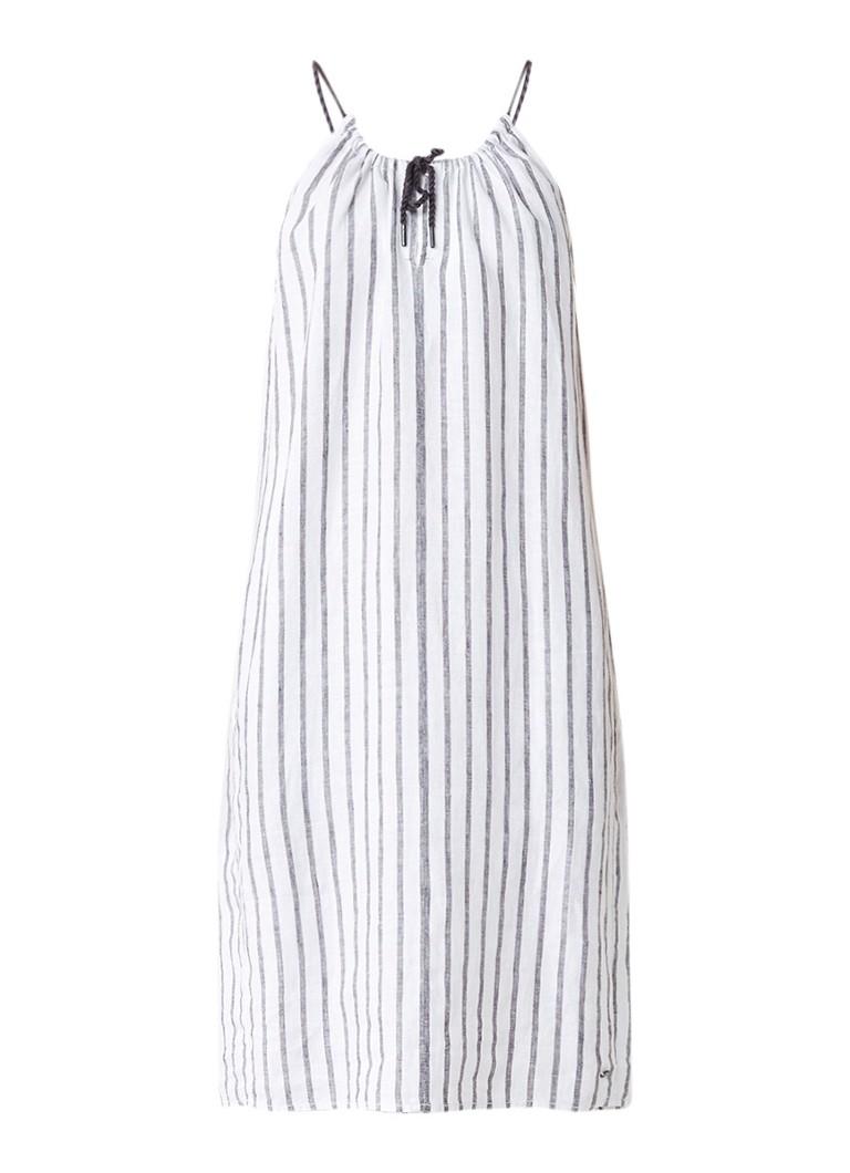 Sandwich Mouwloze gestreepte jurk van linnen wit