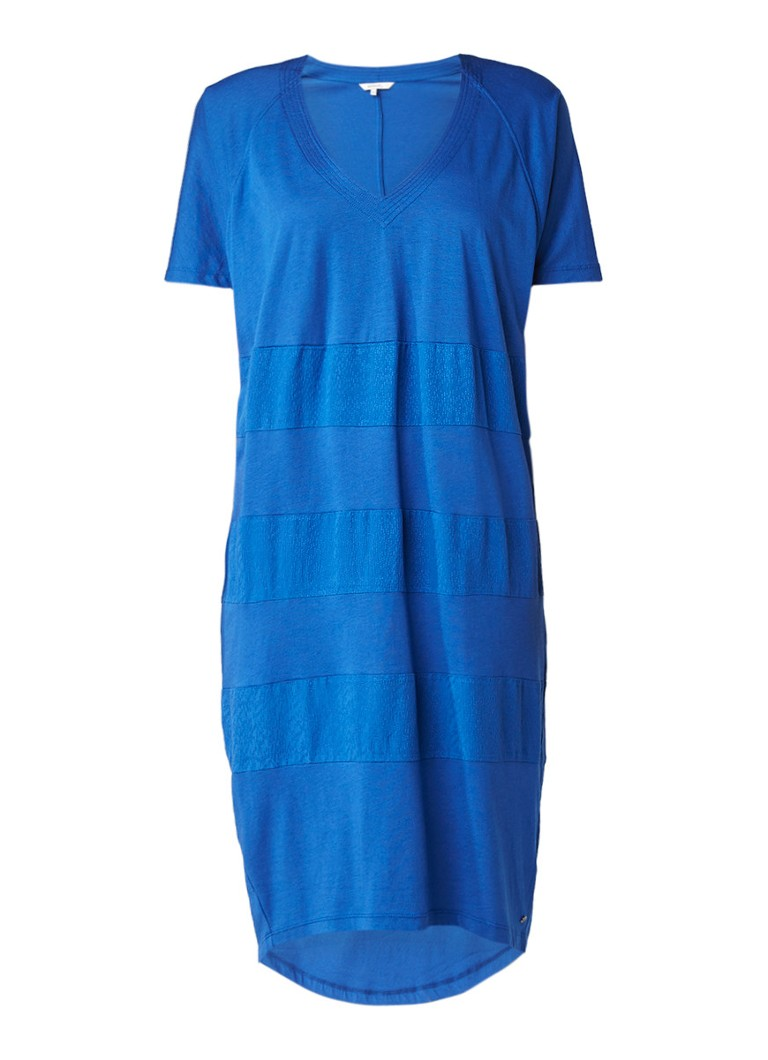 Sandwich Jersey T-shirt jurk met contrasterende inzet kobaltblauw