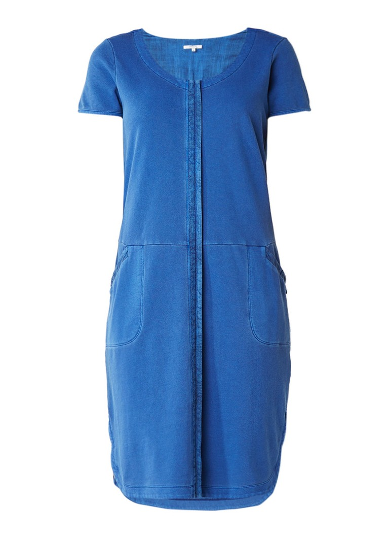 Sandwich Sweater dress met steekzakken en deelnaad kobaltblauw