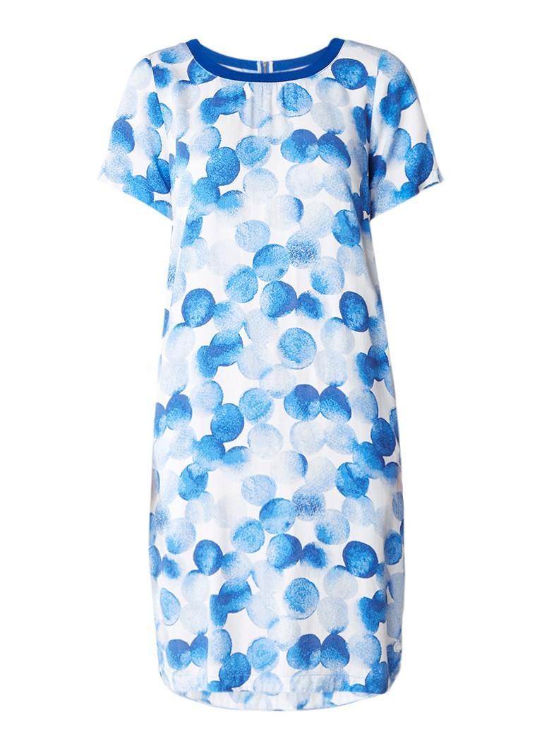 Sandwich T-shirt jurk met abstract gestipt dessin kobaltblauw