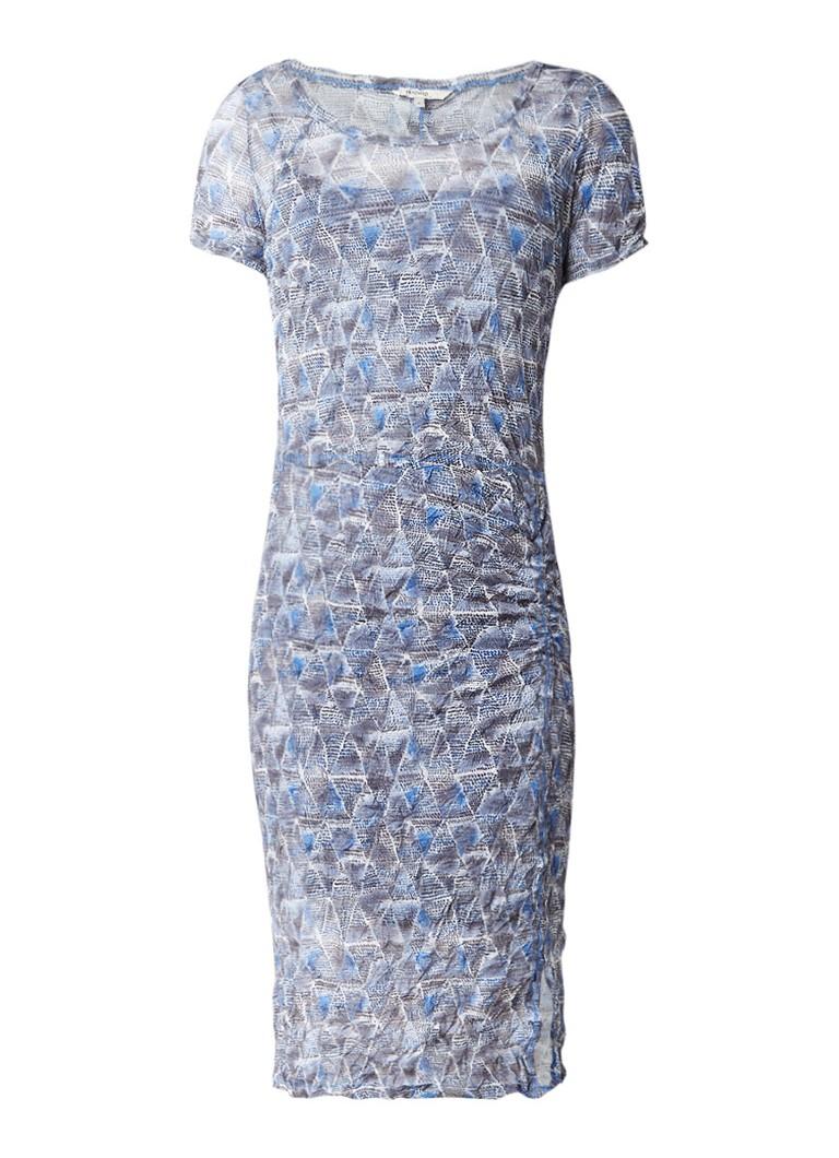 Sandwich Semi-transparante jurk met dessin en onderjurk staalblauw