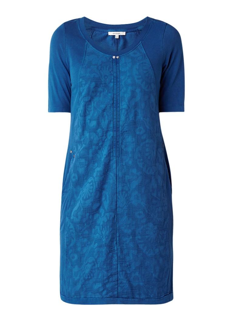 Sandwich Jersey midi-jurk met panelen en subtiel dessin kobaltblauw