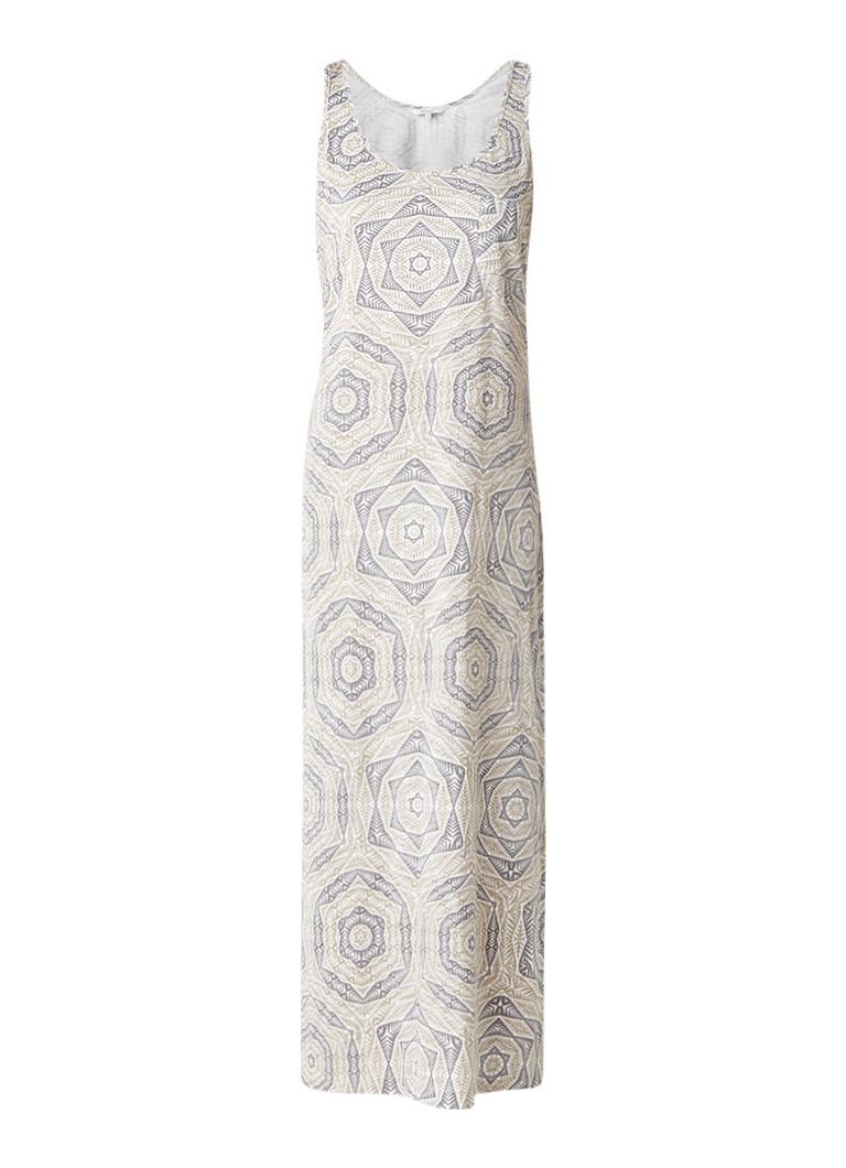Sandwich lange jurk van jersey met dessin beige
