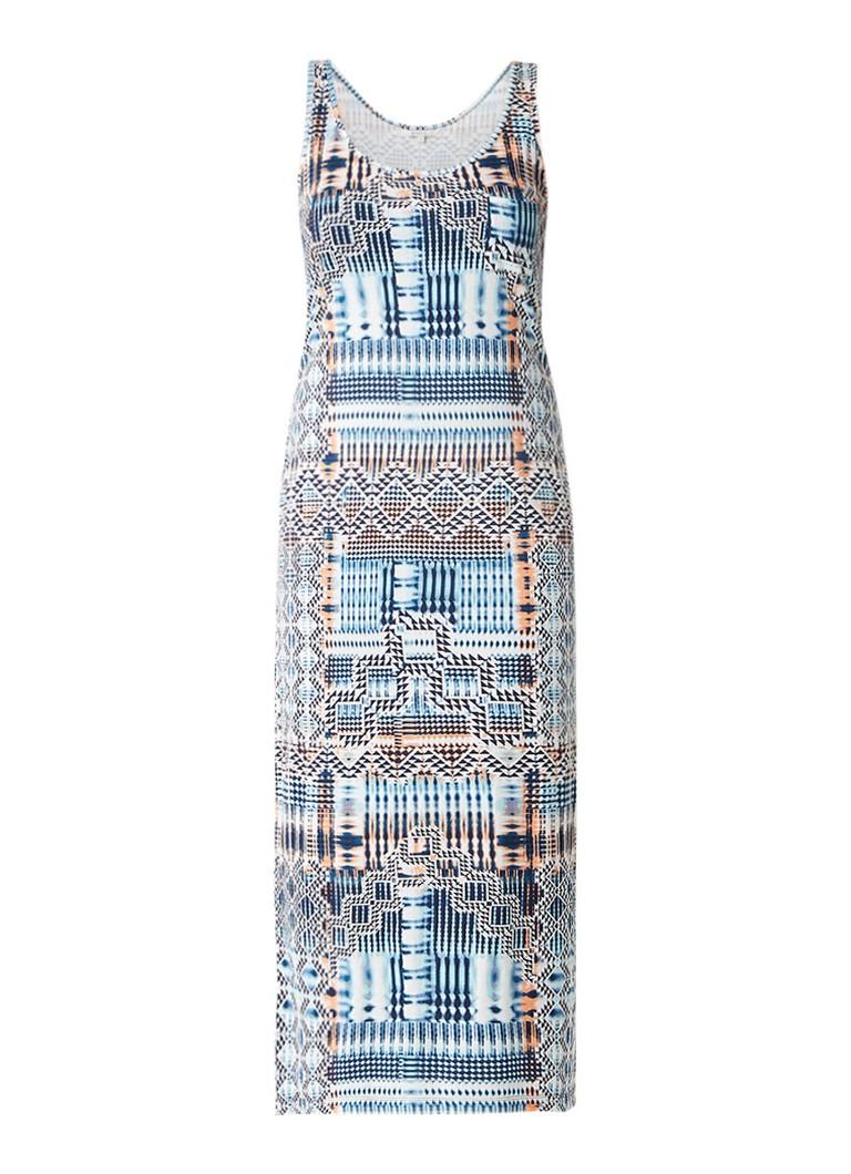 Sandwich Mouwloze maxi-jurk met grafisch dessin blauw