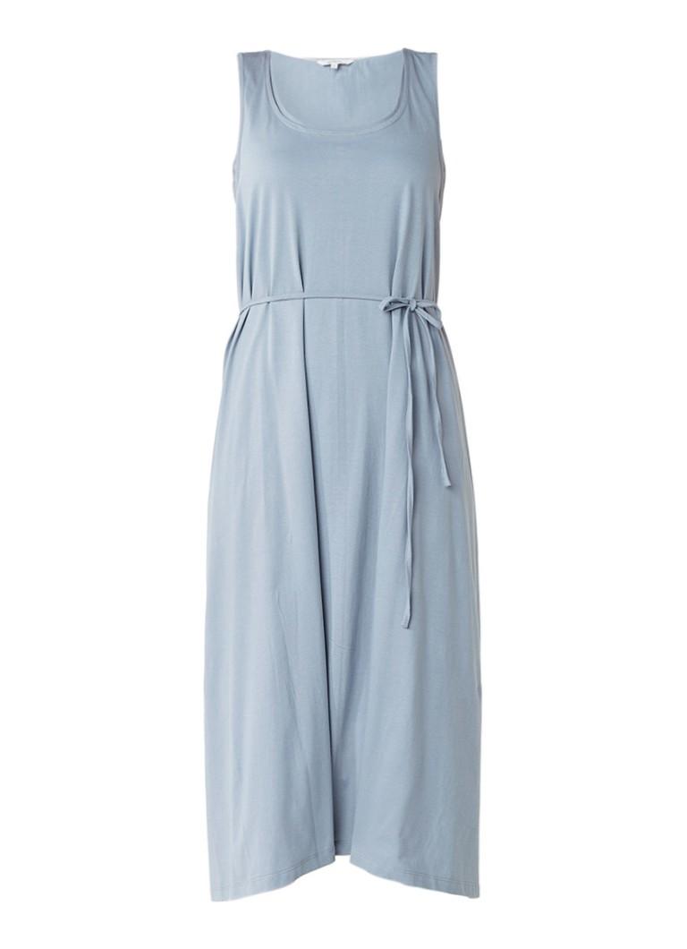 Sandwich Mouwloze jersey midi-jurk met overlay lichtgrijs