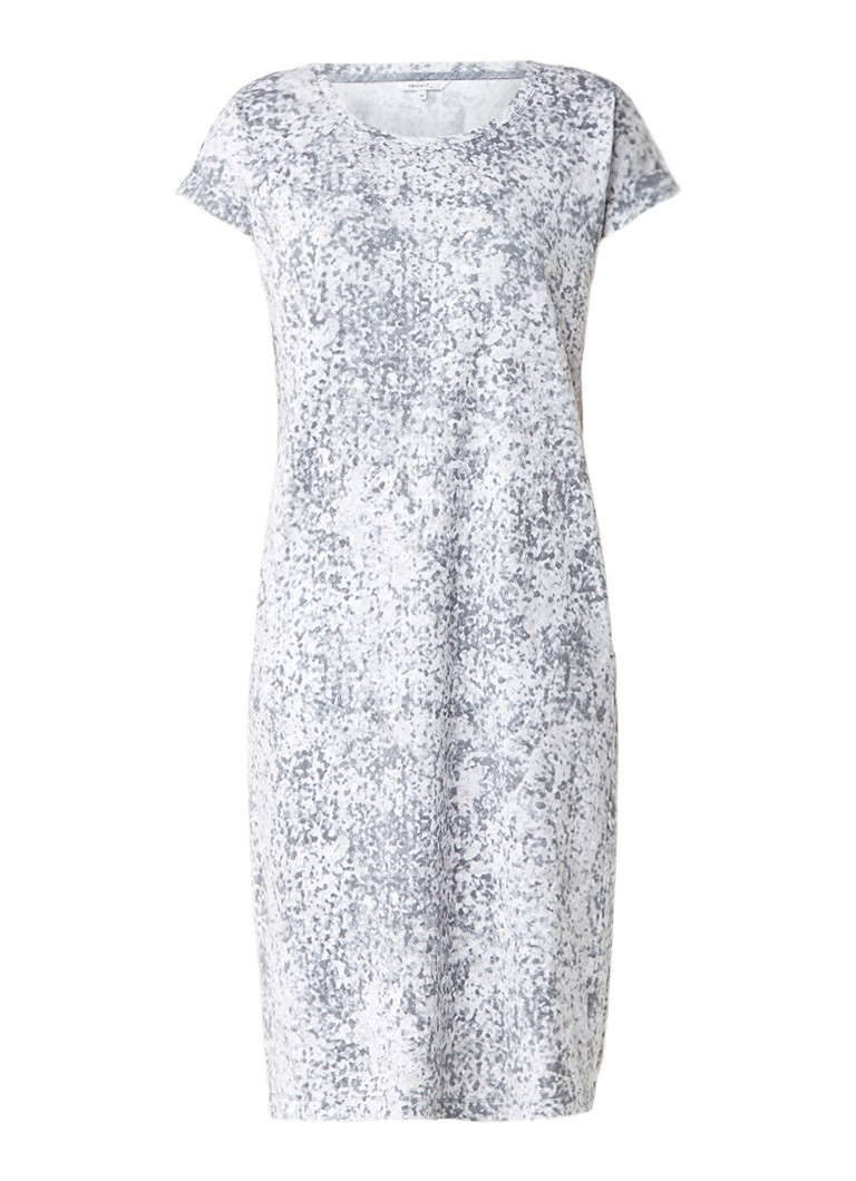 Sandwich Midi T-shirt jurk met abstract dessin grijs