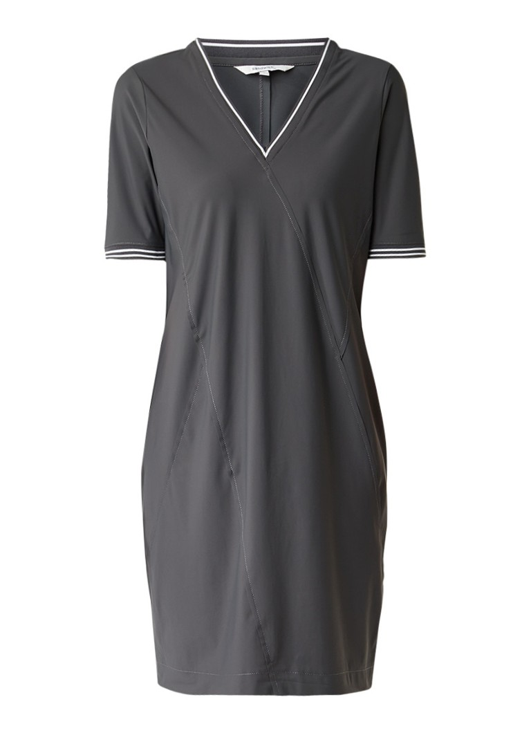 Sandwich Midi-jurk met siernaden en ribgebreide boorden donkergrijs