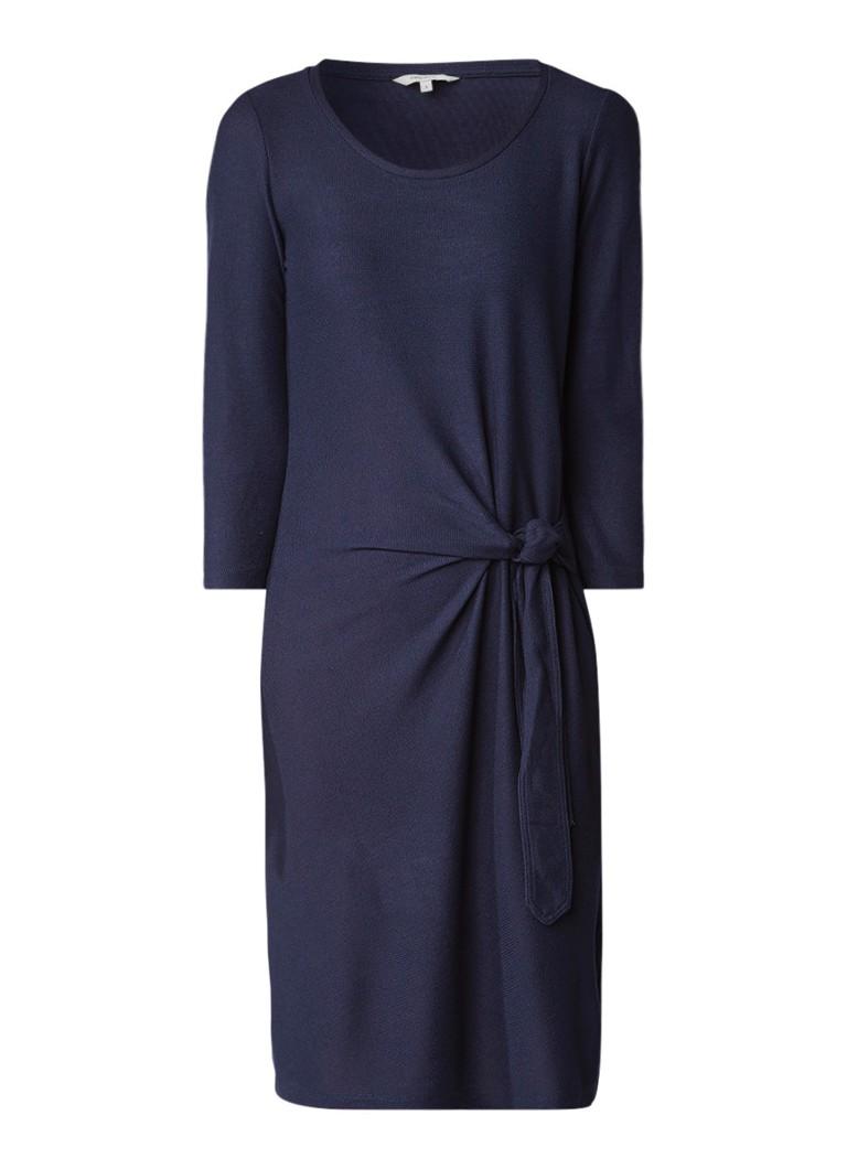 Sandwich Jersey jurk met knoopdetail donkerblauw
