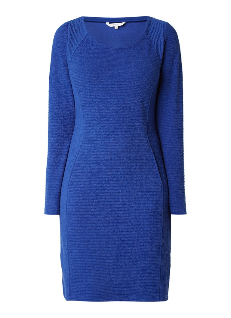 Sandwich Getextureerde midi-jurk van jersey kobaltblauw