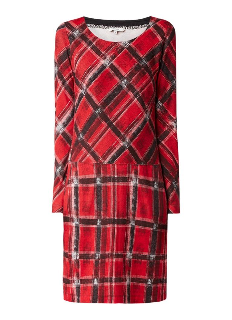 Sandwich Midi-jurk met ruitdessin en zakken rood