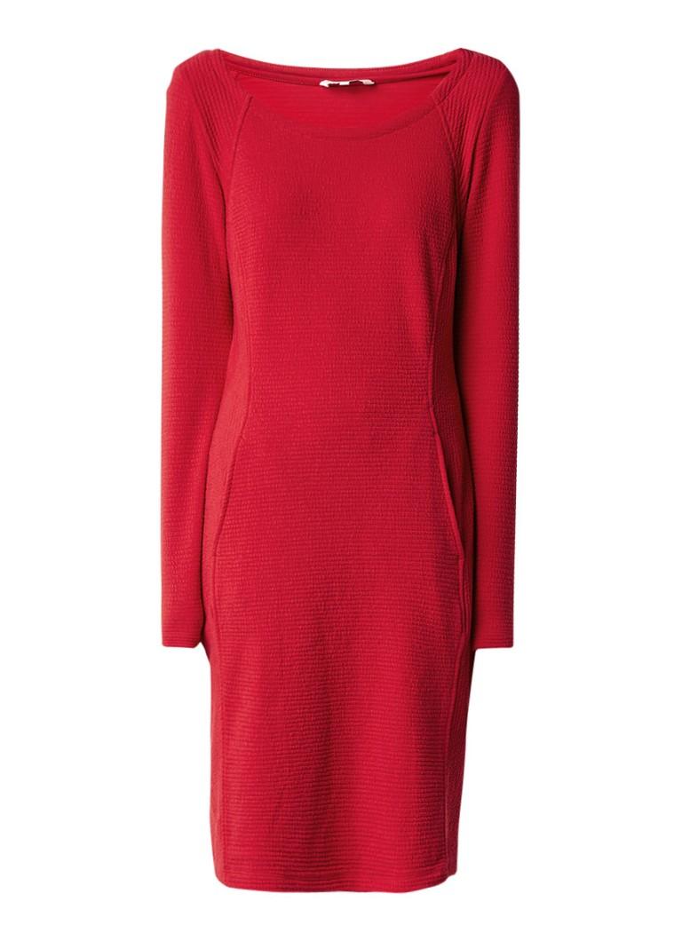 Sandwich Midi-jurk met structuur en steekzakken rood