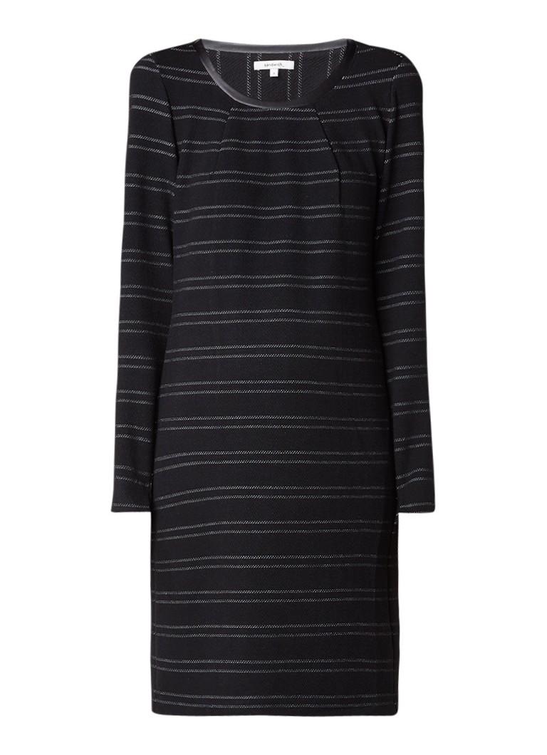 Sandwich Sweaterjurk met krijtstreep en contrastbies zwart