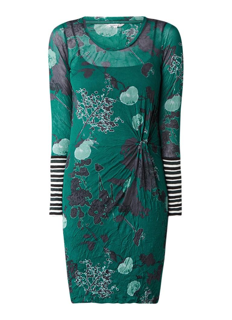 Sandwich Gedrapeerde jurk met kreukstructuur en dessin donkergroen