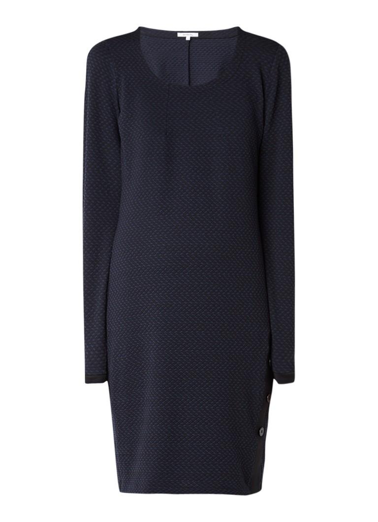 Sandwich Midi-jurk met textuur en knoopdetail donkerblauw
