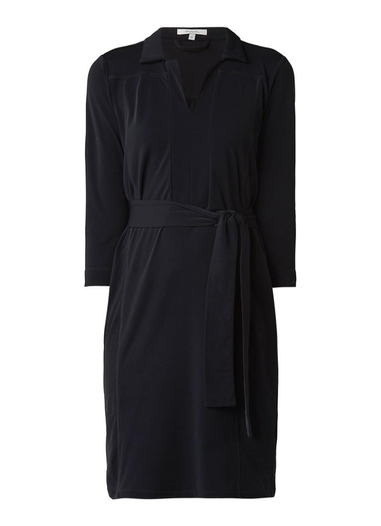 Sandwich Midi-jurk met kraag en strikceintuur zwart
