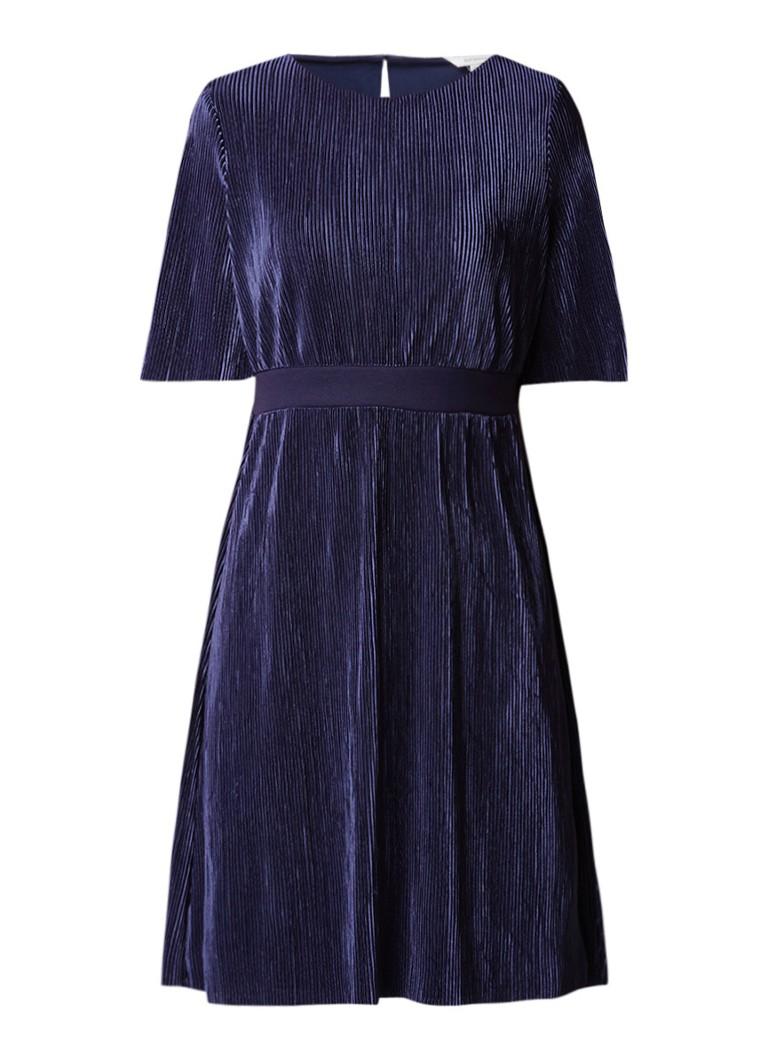 Sandwich Jurk met plissé en keyhole sluiting donkerblauw