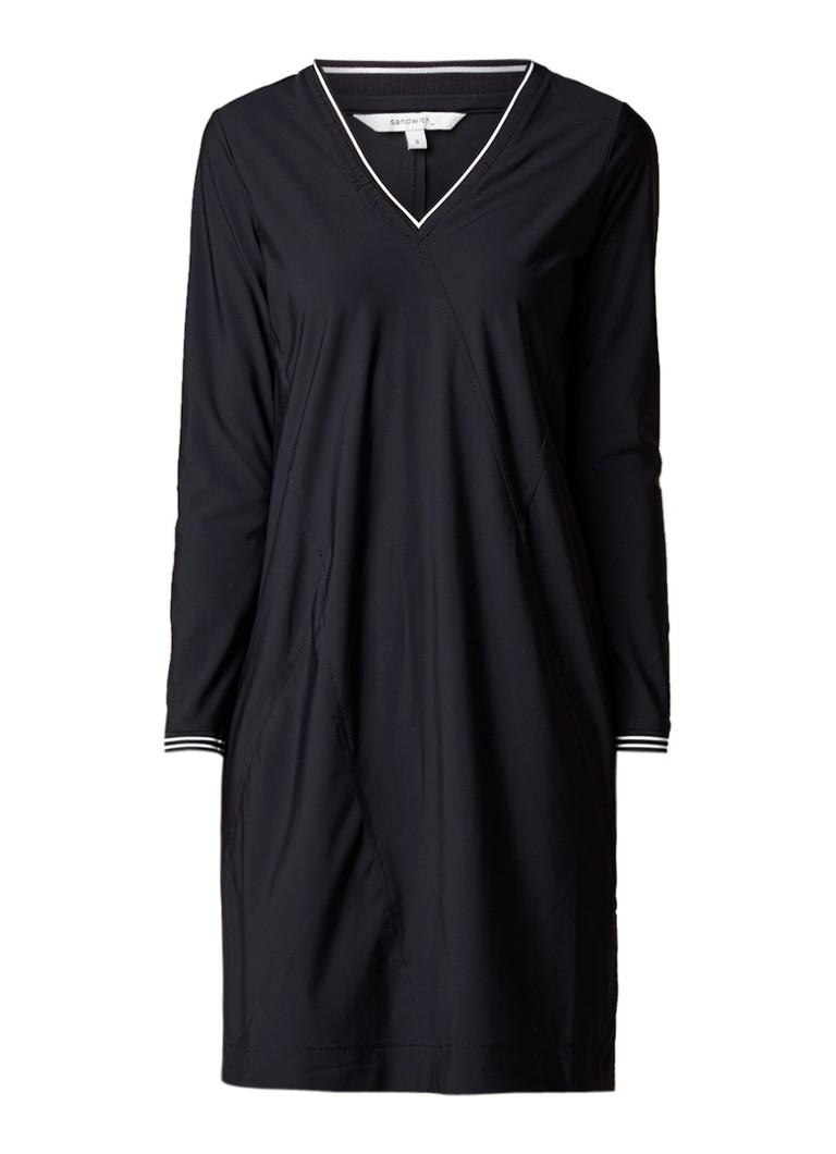 Sandwich Midi-jurk van jersey met contrasterende boord zwart
