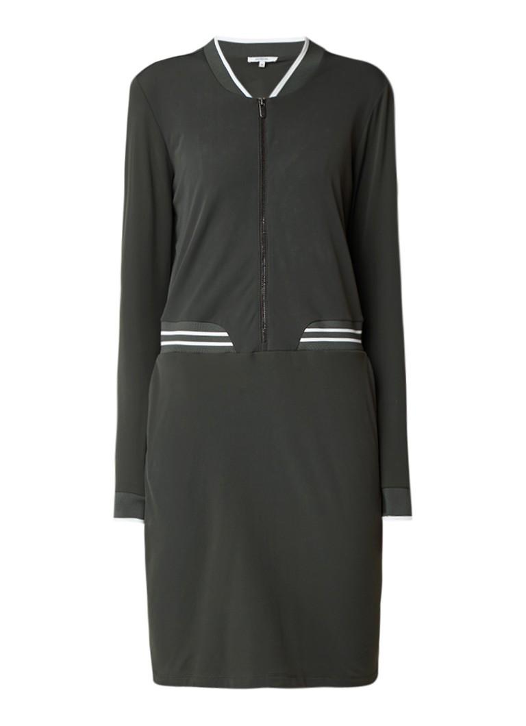 Sandwich Midi-jurk met contrasterende boord donkergroen