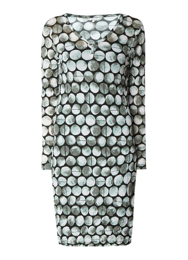 Sandwich Crinkle mini-jurk met dessin donkergroen