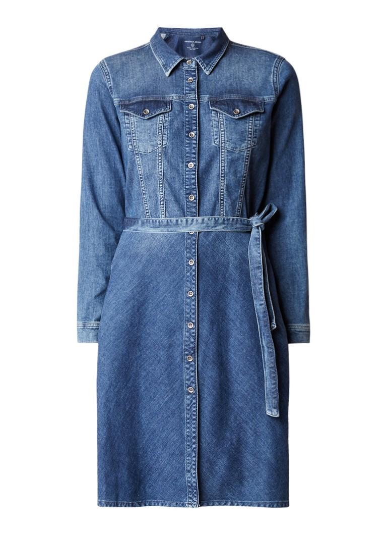 Sandwich Denim jurk met strikceintuur indigo