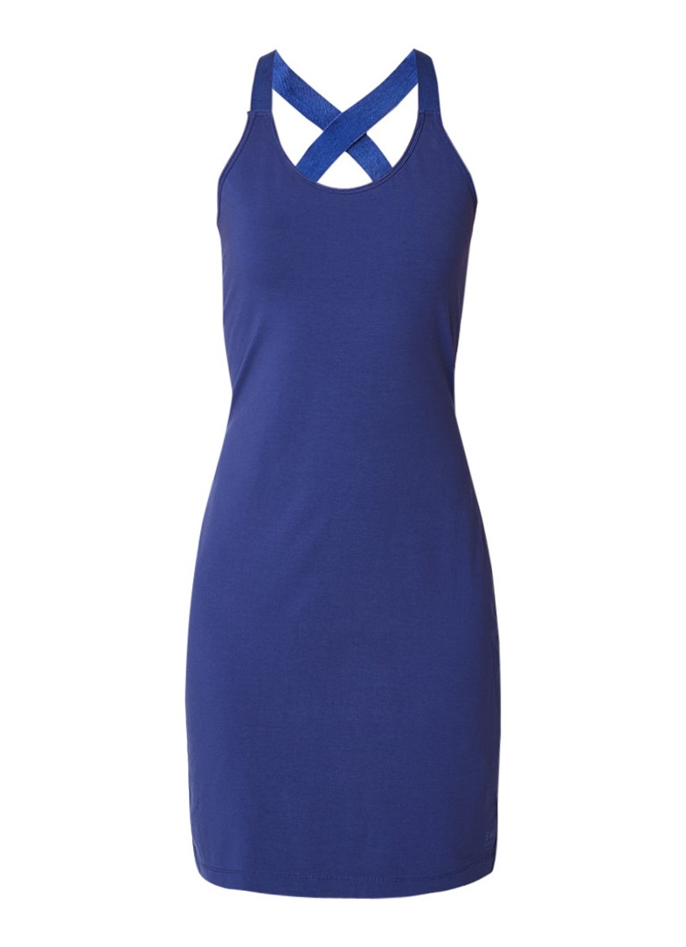 Sandwich Mouwloze jurk van biologisch katoen met gekruiste banden donkerblauw