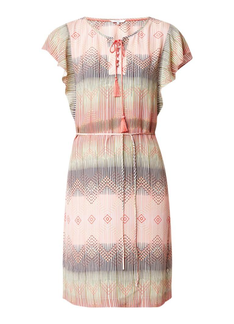 Sandwich Midi-jurk met strikceintuur en grafisch dessin zalmroze