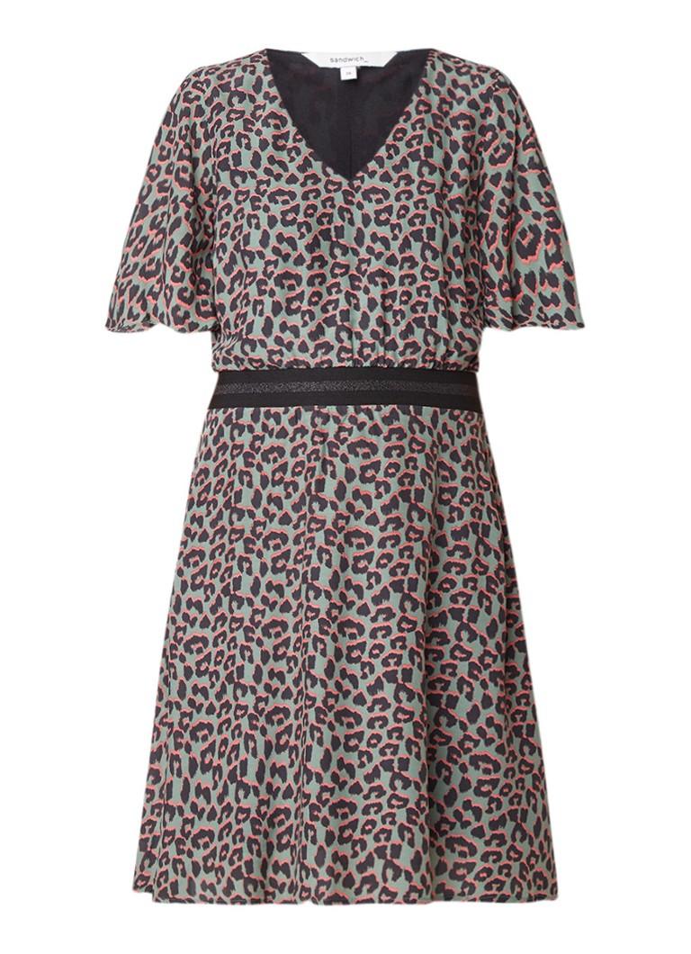 Sandwich A-lijn jurk met luipaarddessin en elastische tailleband taupe