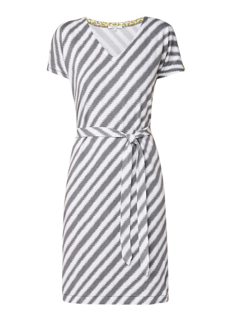 Sandwich Jersey jurk met streepdessin en ceintuur middengrijs